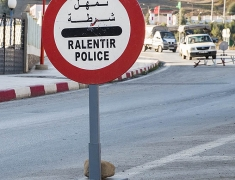 Road sign of police checkpoint