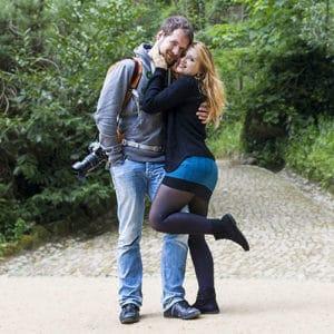 Eva & Tom in gardens in Portugal