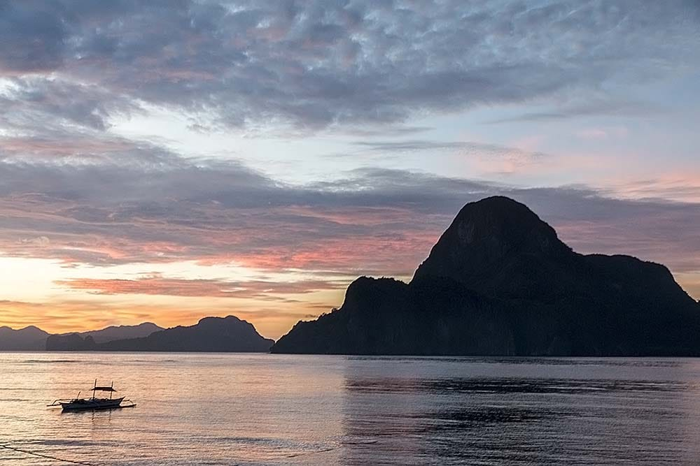 Island in sunset sun