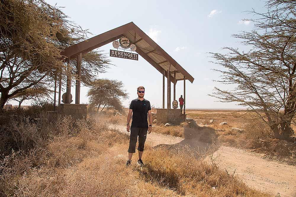 Tom before Serengeti park Gate