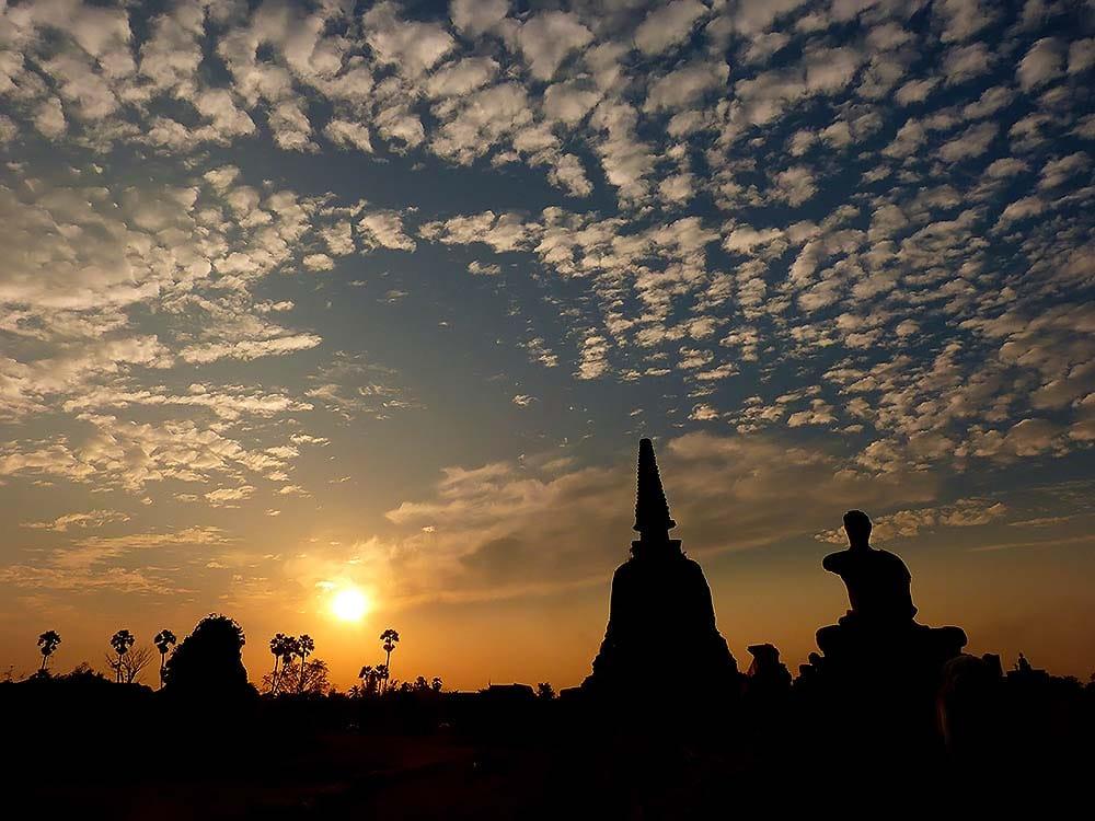 Wonderful sunset in Ayutthaya
