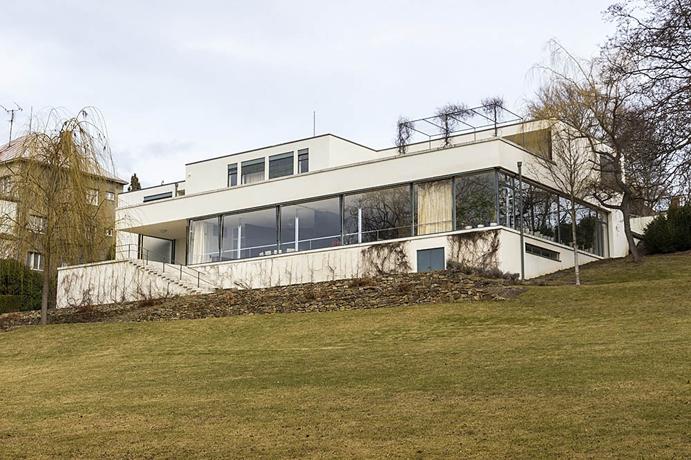 View of Villa Tugendhat in Brno from the garden