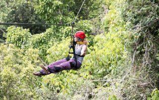 Eva is flying in the zipline