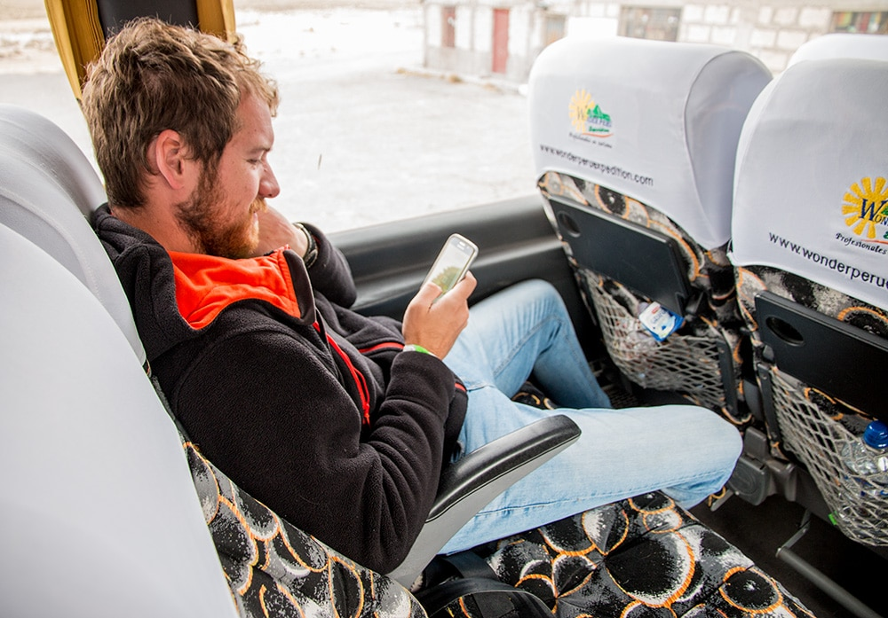 The interior of Peru Hop bus offers all the comforts