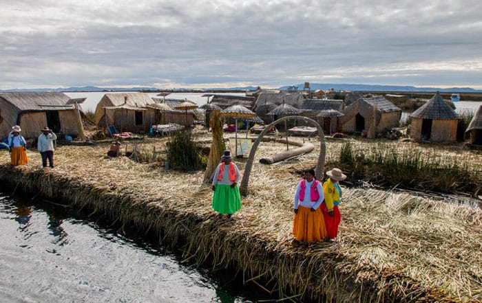 Floating island at Lake Titicaca