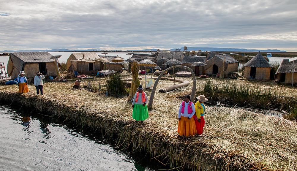 Floating island at Lake Titicaca