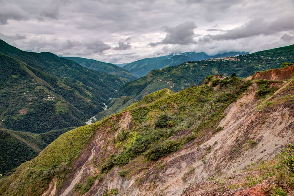 View from an altitude of 1,400 meters towards the bottom of the valley