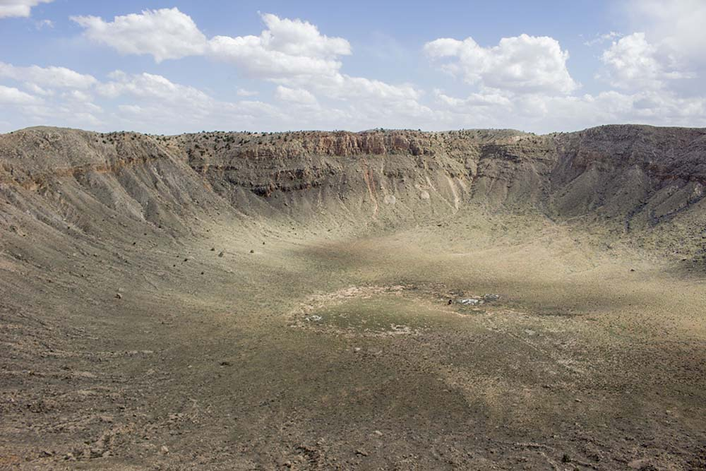 A huge crater, which was created after the fall of the meteorite