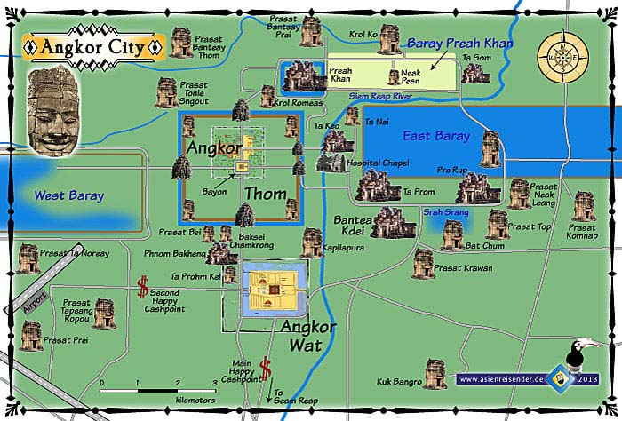 Travel Guide Map Angkor Wat