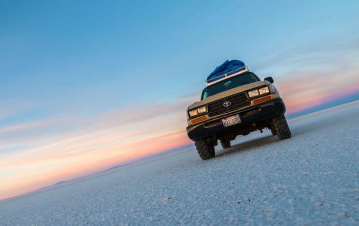 Toyota Land Cruiser at Salar de Uyuni