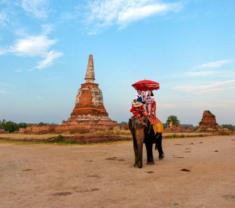 Ayutthaya - Elephant with tourists