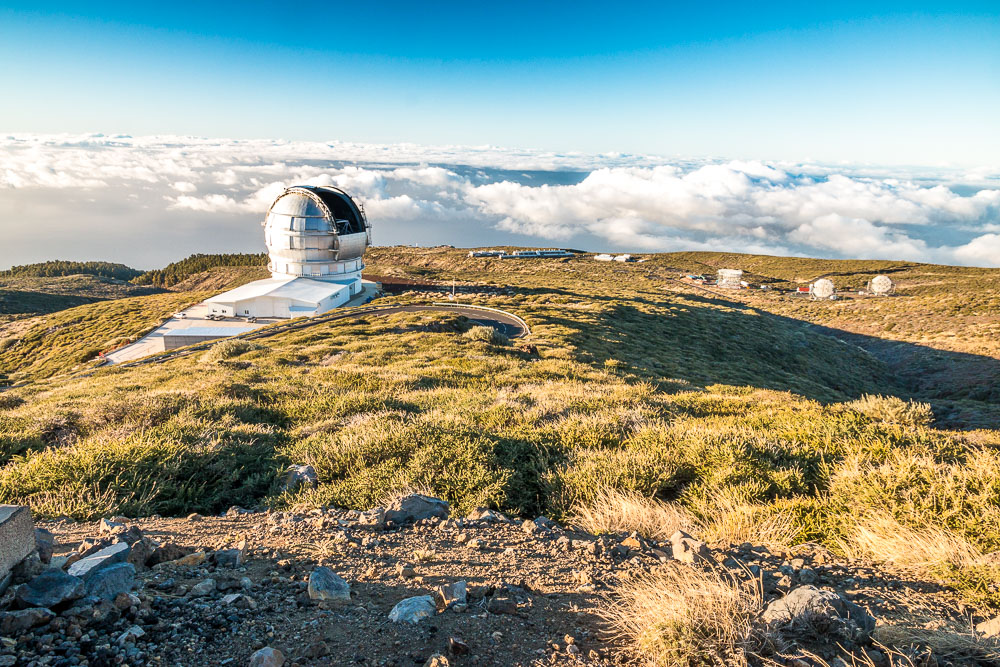 Observatories at the top of La Palma