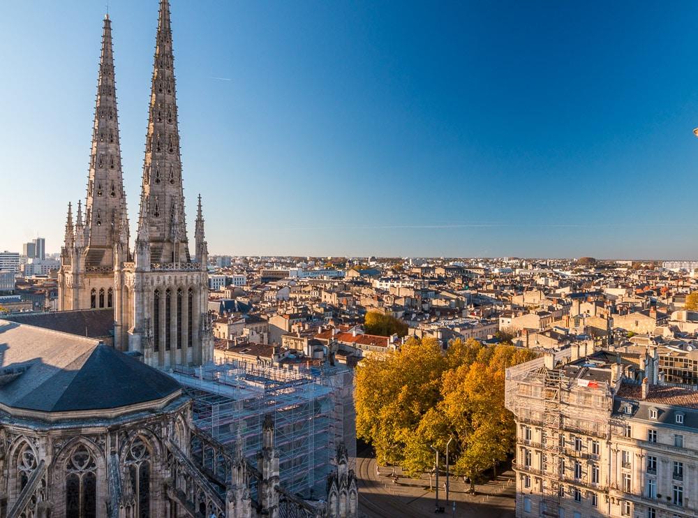 View from tower Tour Pey Berland at Cathédrale Saint-André de Bordeaux