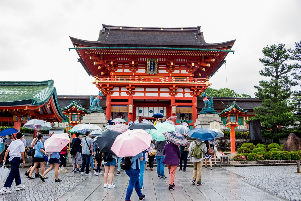 Rainy day in Kyoto in Japan